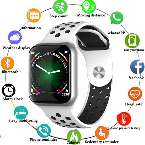 F8 Full Touch Screen F9 Smart Bracelet Heart Rate Blood Pressure Monitoring Information Reminder