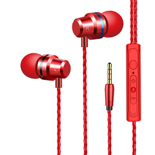 Metal subwoofer headset line vivo Huawei oppo phone unisex K song in-ear computer headset wheat